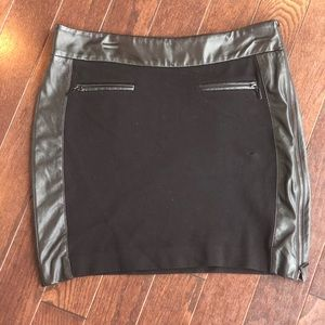 Black Cache Skirt with faux leather trim